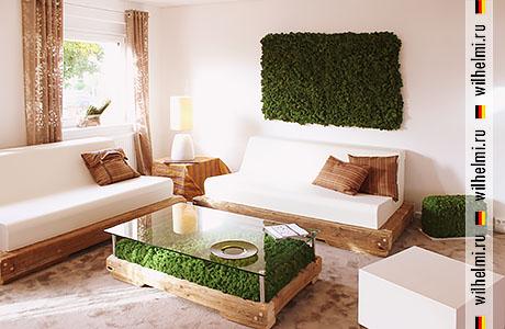 мох в составе натуральной мебели