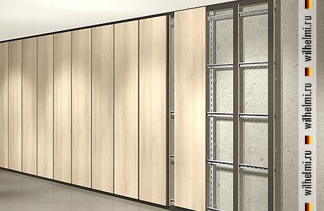 навесная система для стеновых панелей с рустом